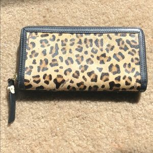Leopard zip up wallet